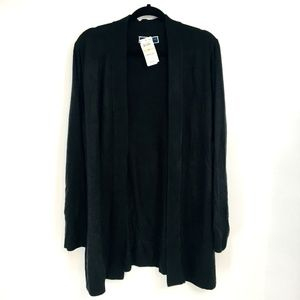Karen Scott Black Long Sleeve Open Front Cardigan